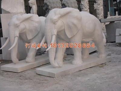 石雕大象,石雕动物,公园动物雕塑