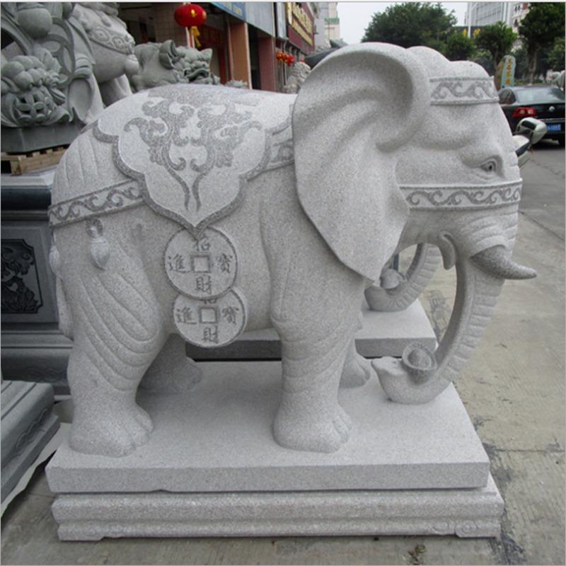 吸水大象雕塑 招财摆件 厂家石雕大象价格 石象雕刻