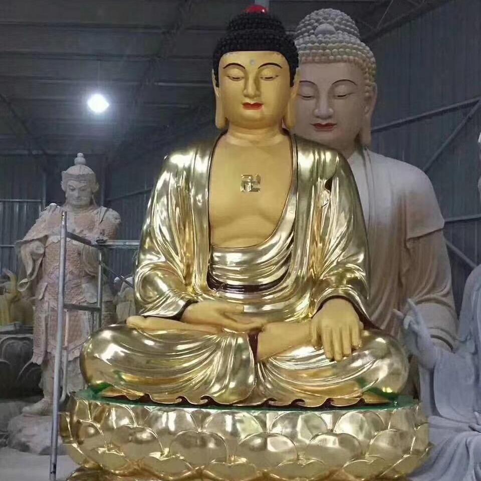 寺院大型三宝佛像厂家直销 贴金3米三世佛像