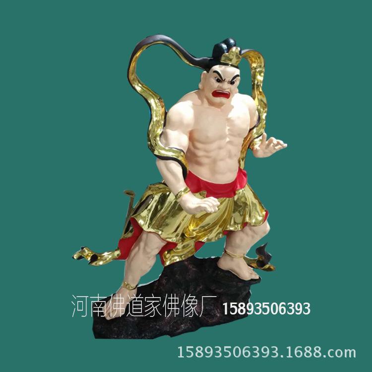 1.8米哼哈二将佛像批发 贴金树脂神像 河南雕塑公司供应示例图1