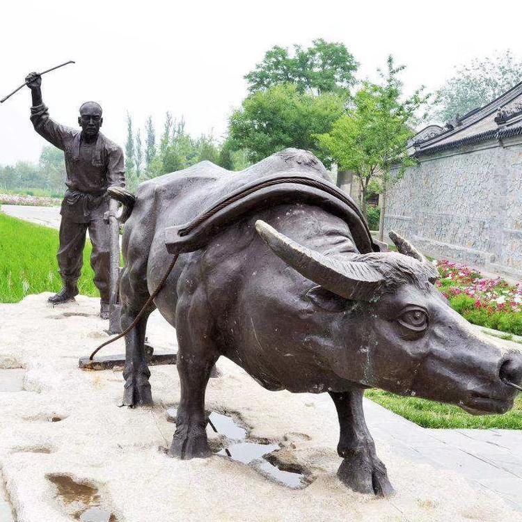 开荒铜牛定做 广场园林铜牛铸造厂 圣喜玛