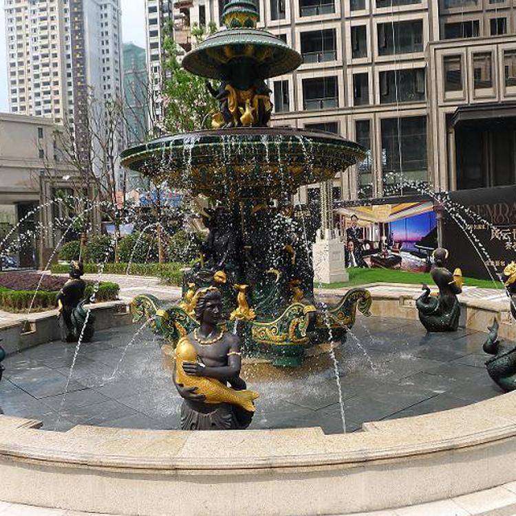 小区广场商业街景观铜雕塑 铜喷泉雕塑 圣喜玛