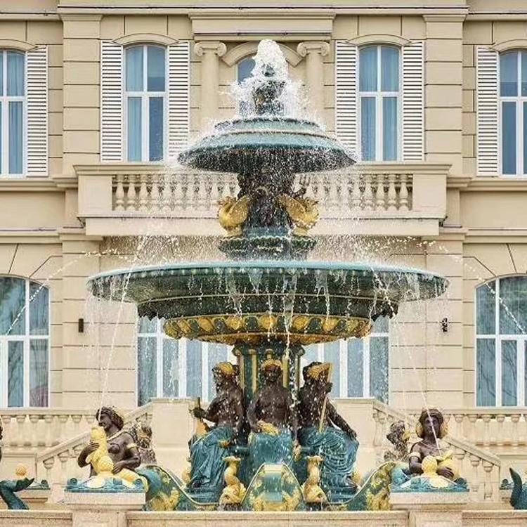 大型西欧铜喷泉雕塑 纯铜户外喷泉 圣喜玛