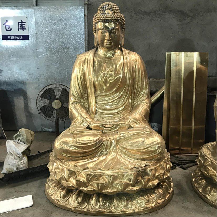 铸铜娑婆三圣佛像 三圣佛像雕塑定做