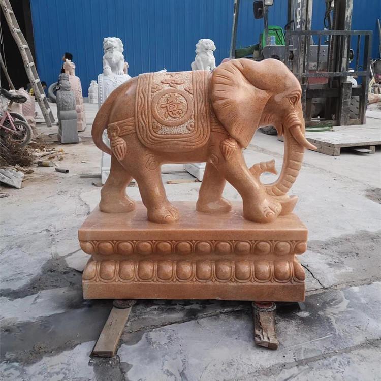 泽业雕塑直销晚霞红石雕大象一对 汉白玉石雕小象 吉祥如意招财石象 酒店门口别墅石雕摆件 大理石动物雕塑 动物石雕厂家定制