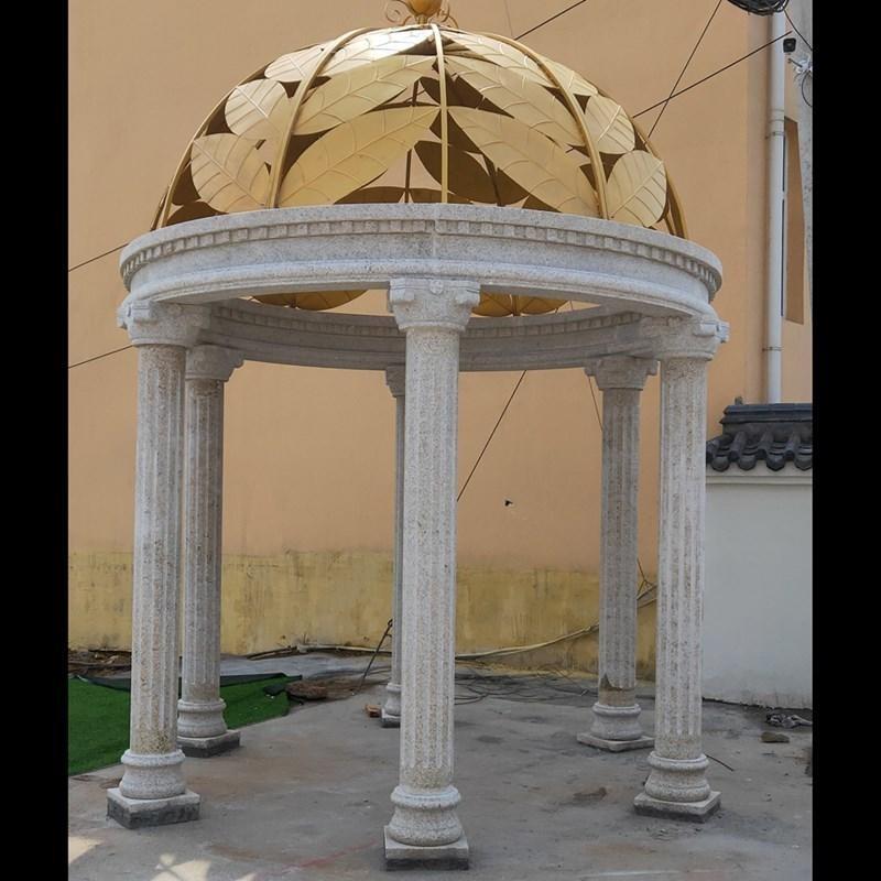 铁艺凉亭 园林雕塑欧式凉亭 户外凉亭定制 圆形六柱石凉亭
