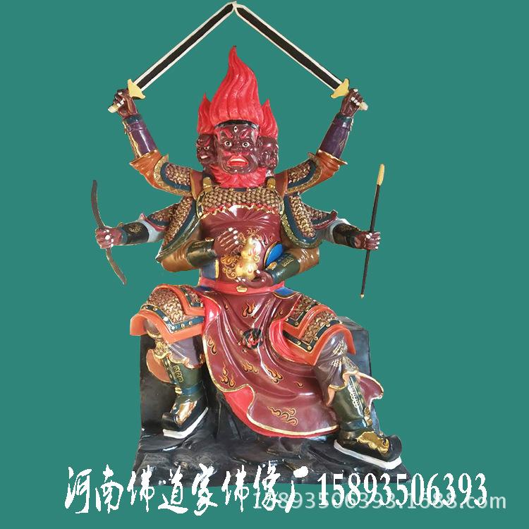 树脂火神爷佛像 三头六臂火神雕像 河南厂家批发玻璃钢佛像示例图3