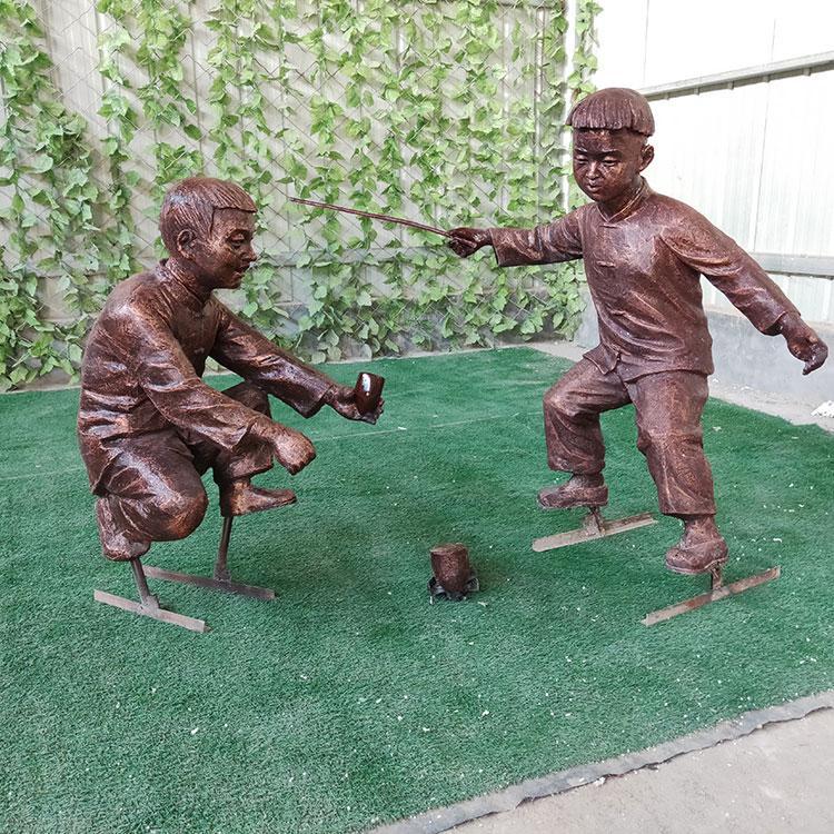 玻璃钢童趣雕塑 玻璃钢民俗摆件 售楼部房地产人物雕塑,鹏钊