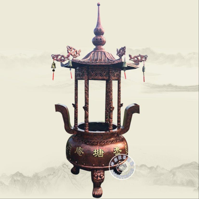 圆形铁香炉 户外圆形六龙柱香炉厂家定制