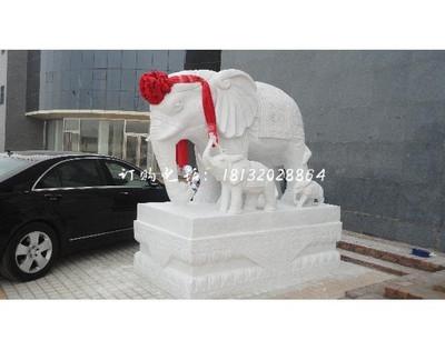汉白玉母子大象雕塑 门口石雕大象