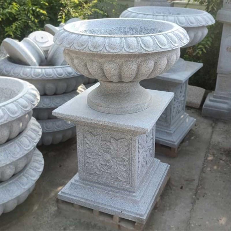 黄金麻花钵 黄锈石花盆 庭院石雕景观摆件 石雕花盆定制