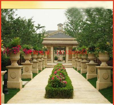 石雕花盆,公园景观石雕