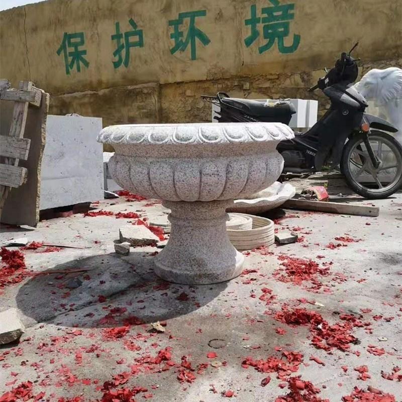 石雕欧式花盆厂家 曲阳石雕厂 景观花钵雕刻 异形石雕花钵加工 园林花钵