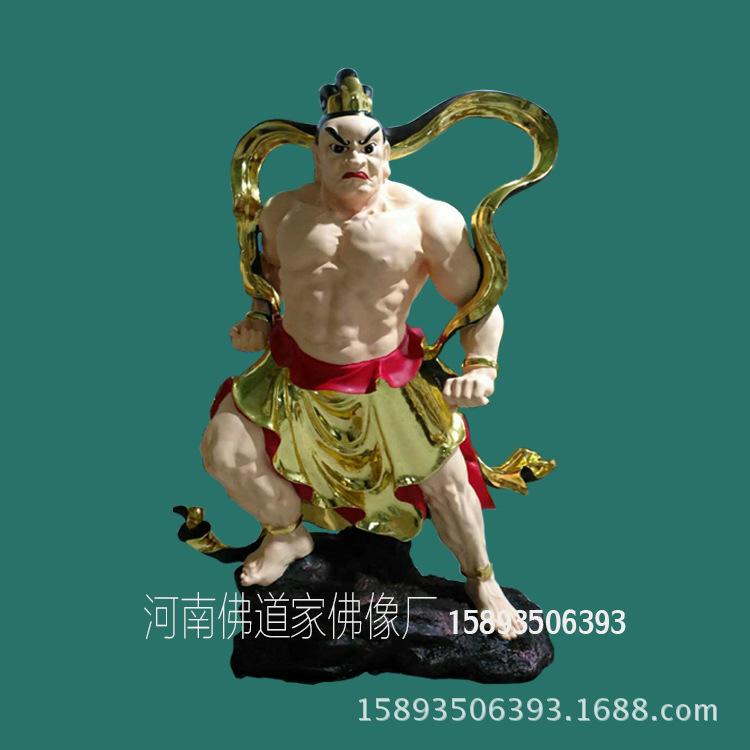 1.8米哼哈二将佛像批发 贴金树脂神像 河南雕塑公司供应示例图2