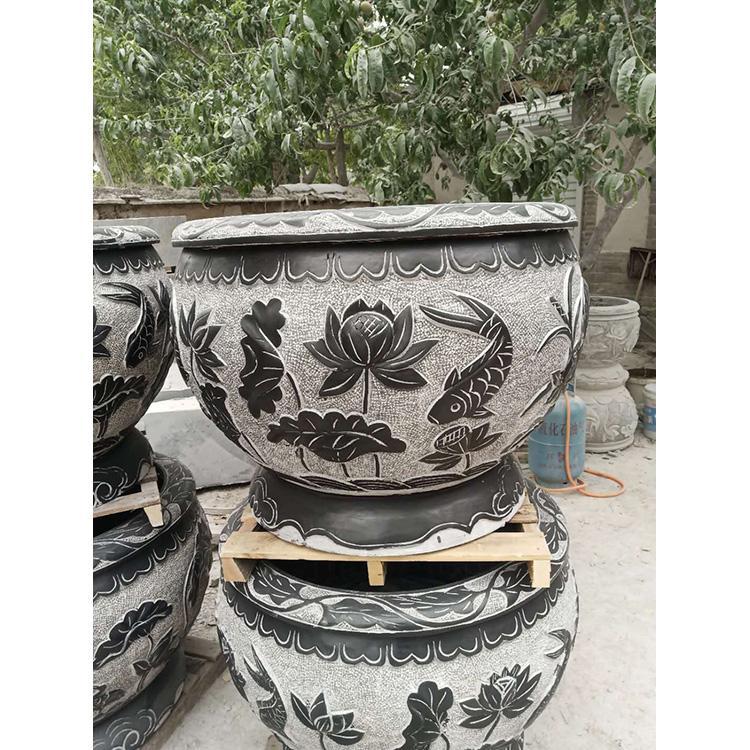 青石石雕水缸 庭院景观摆件 老石槽厂家万尚雕塑