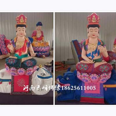 河南云峰佛像供应道教神像 文殊普贤菩萨1.6米 彩绘贴金 地藏菩萨 玻璃钢树脂佛像