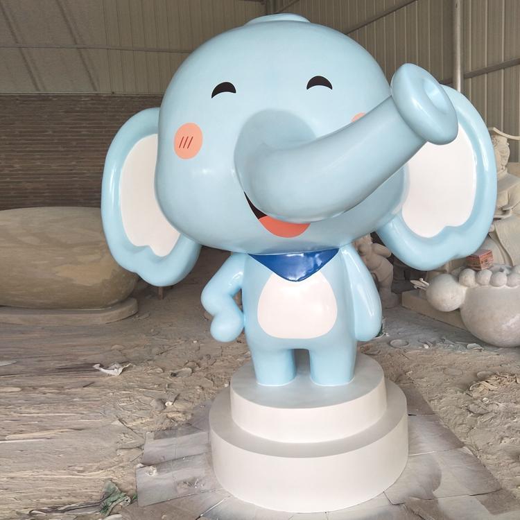 玻璃钢卡通大象雕塑 卡通象吉祥物定制 玻璃钢吉祥物定做,鹏钊