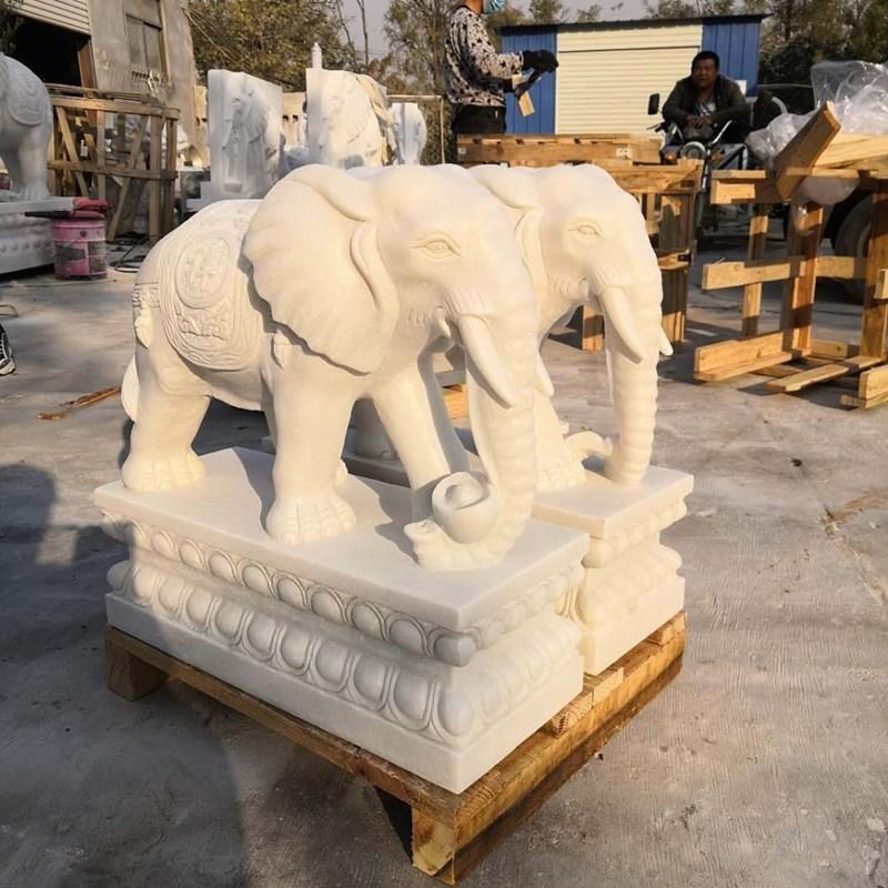 汉白玉小象 风水石象摆件 招财石雕大象 酒店商场门口石象