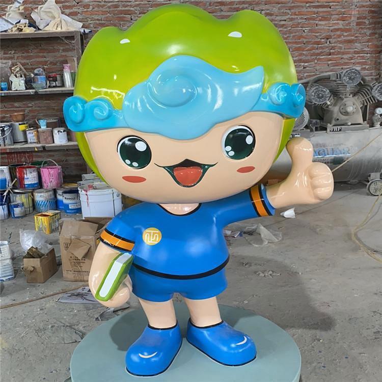 商场玻璃钢卡通男孩雕塑 玻璃钢人物形象定制 吉祥物雕塑定做,鹏钊