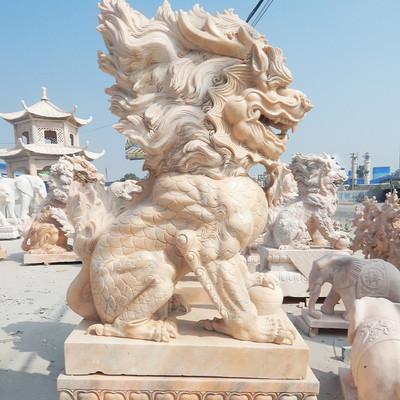晚霞红麒麟石雕观音动物雕塑镇宅动物雕塑