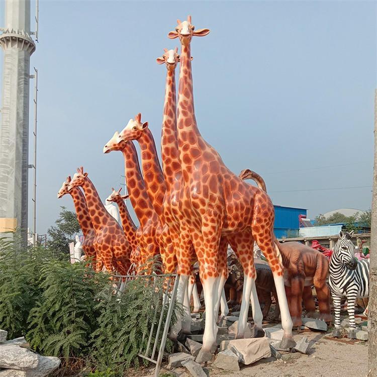 玻璃钢仿真长颈鹿 大型长颈鹿雕塑 户外园林雕塑,鹏钊