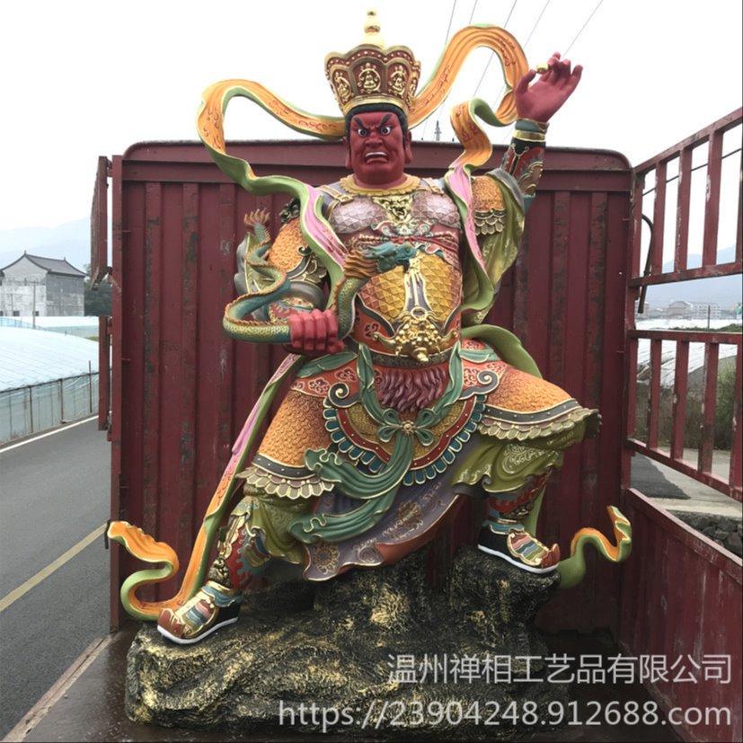 四大天王佛像雕塑 寺院彩绘大型四大金刚佛像定做