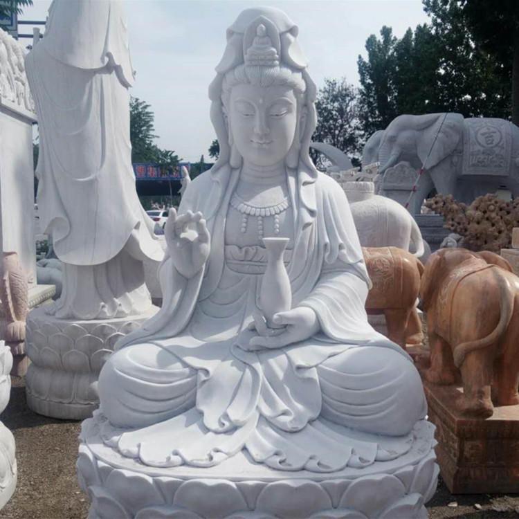 石雕佛像 汉白玉石雕观音像 大理石坐佛雕塑 寺庙供奉佛像雕塑摆件 曲阳汉白玉观音菩萨定制