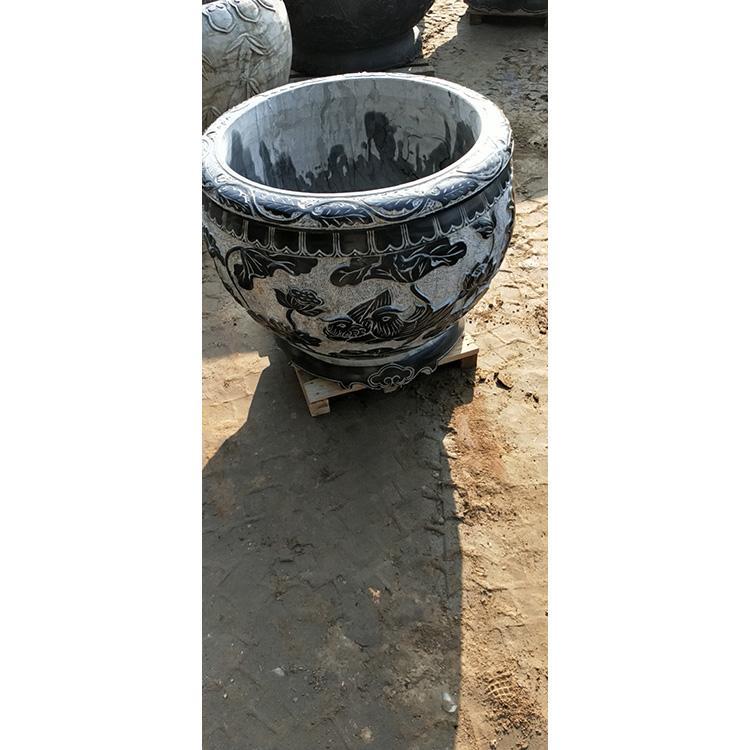 青石荷花鱼缸 石雕鱼缸长方形石缸 庭院荷花鱼缸万尚雕塑