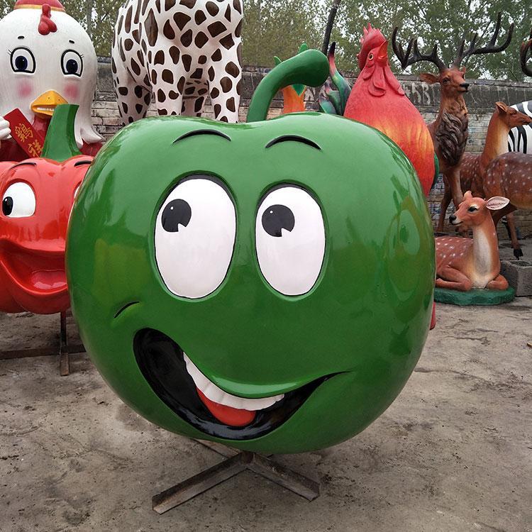 玻璃钢苹果装饰雕塑 生态园新农村玻璃钢水果定制,鹏钊