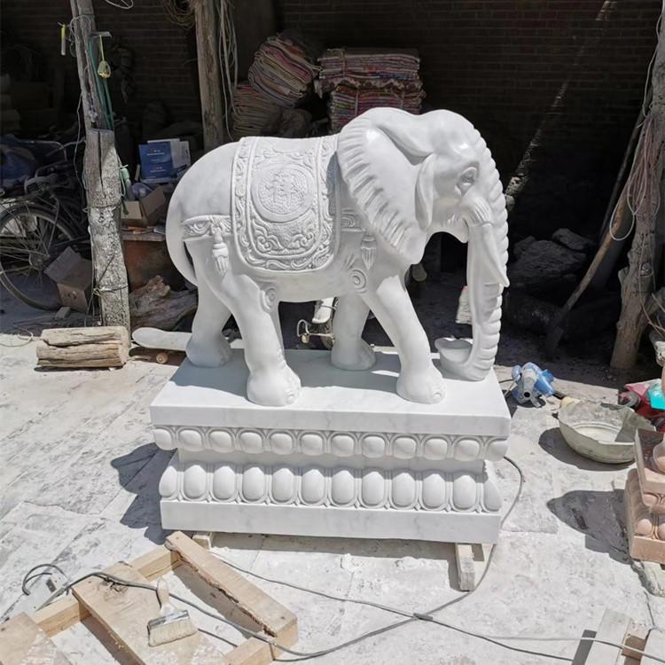 厂家直销石雕大象 晚霞红招财小象一对 汉白玉吉祥如意石大象 酒店门口别墅公司石雕摆件 大理石石象定制