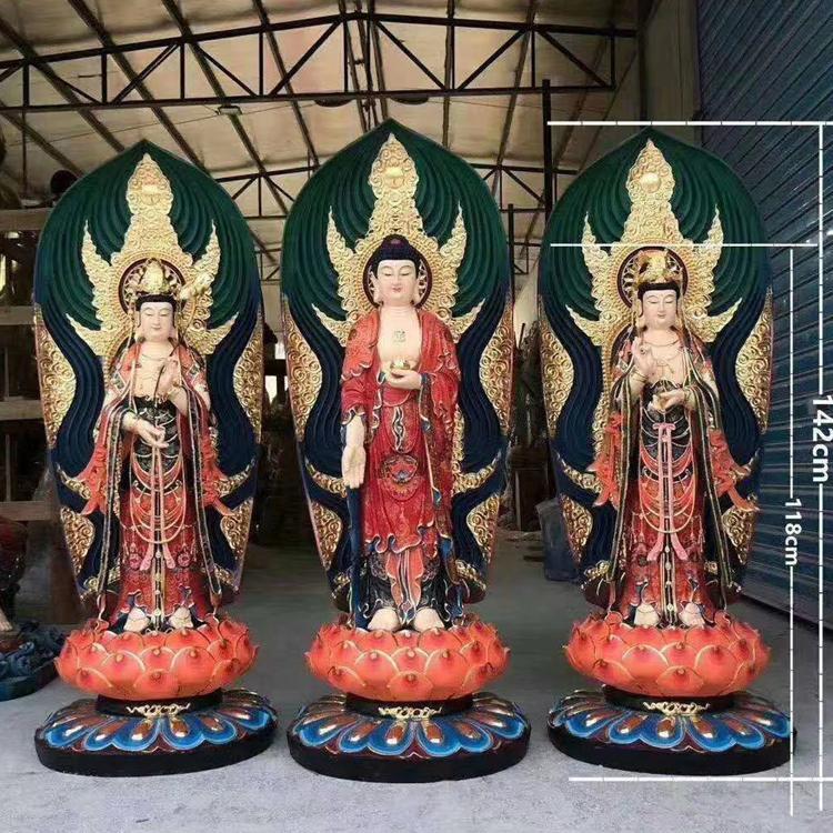 河北铜佛像生产厂家 纯铜鎏金佛像 华严三圣 西方三圣 圣喜玛