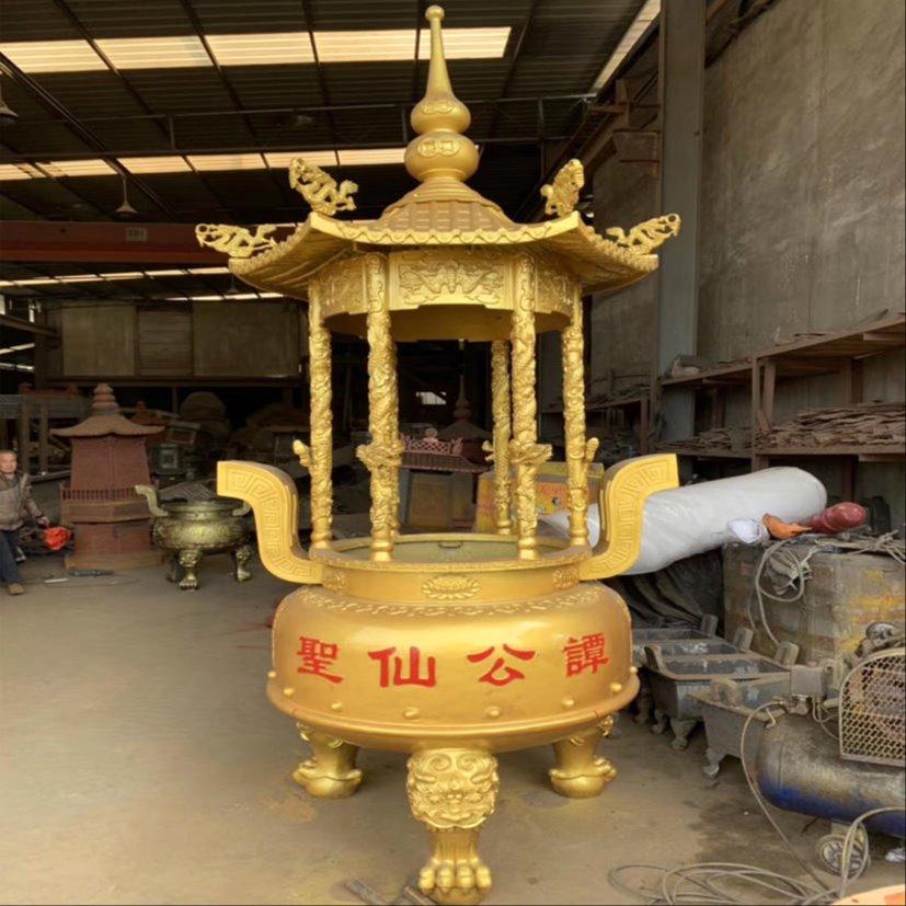 寺院香炉定做厂家 缙云宫殿圆形带盖香炉
