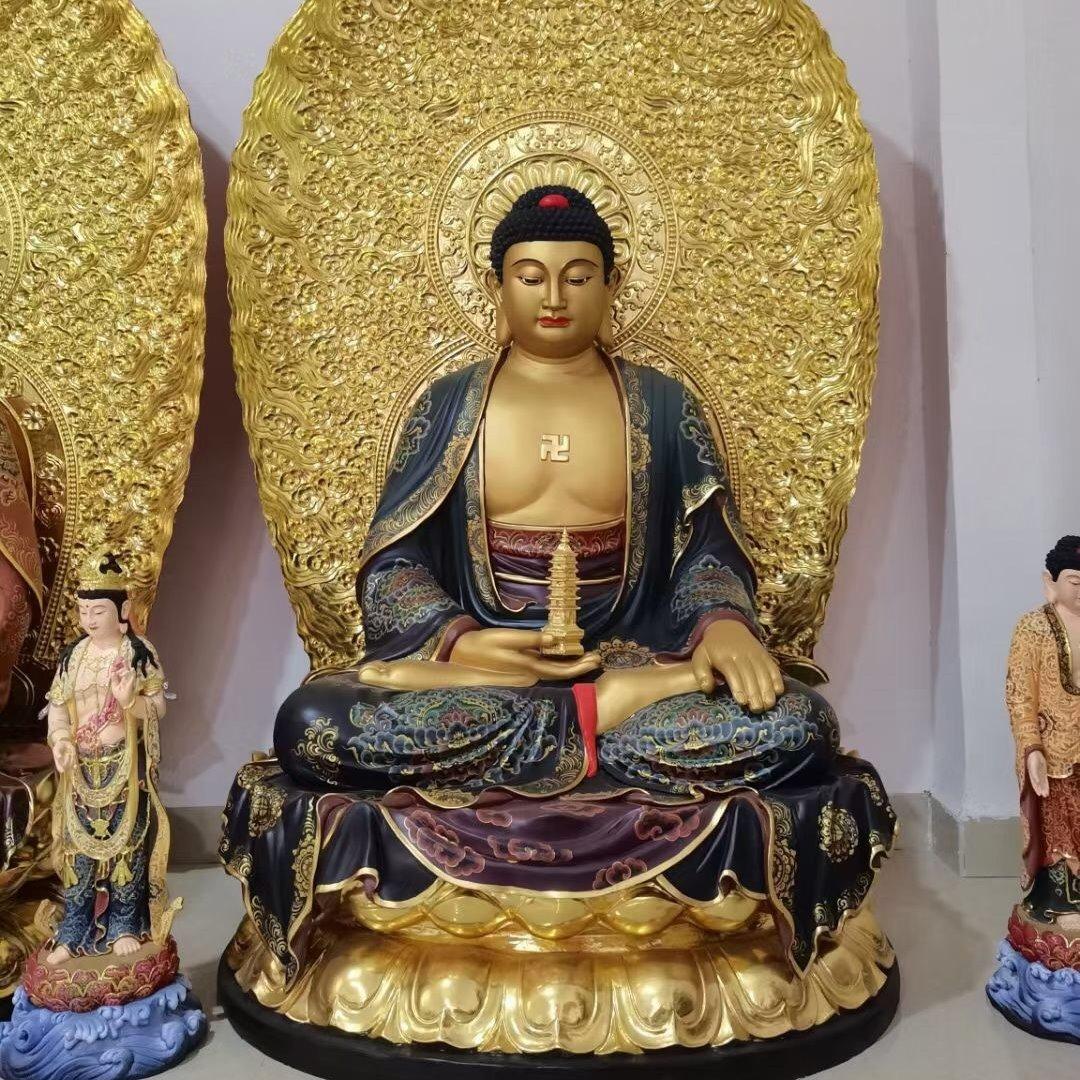 寺院大雄宝殿雕塑 精雕三世佛像