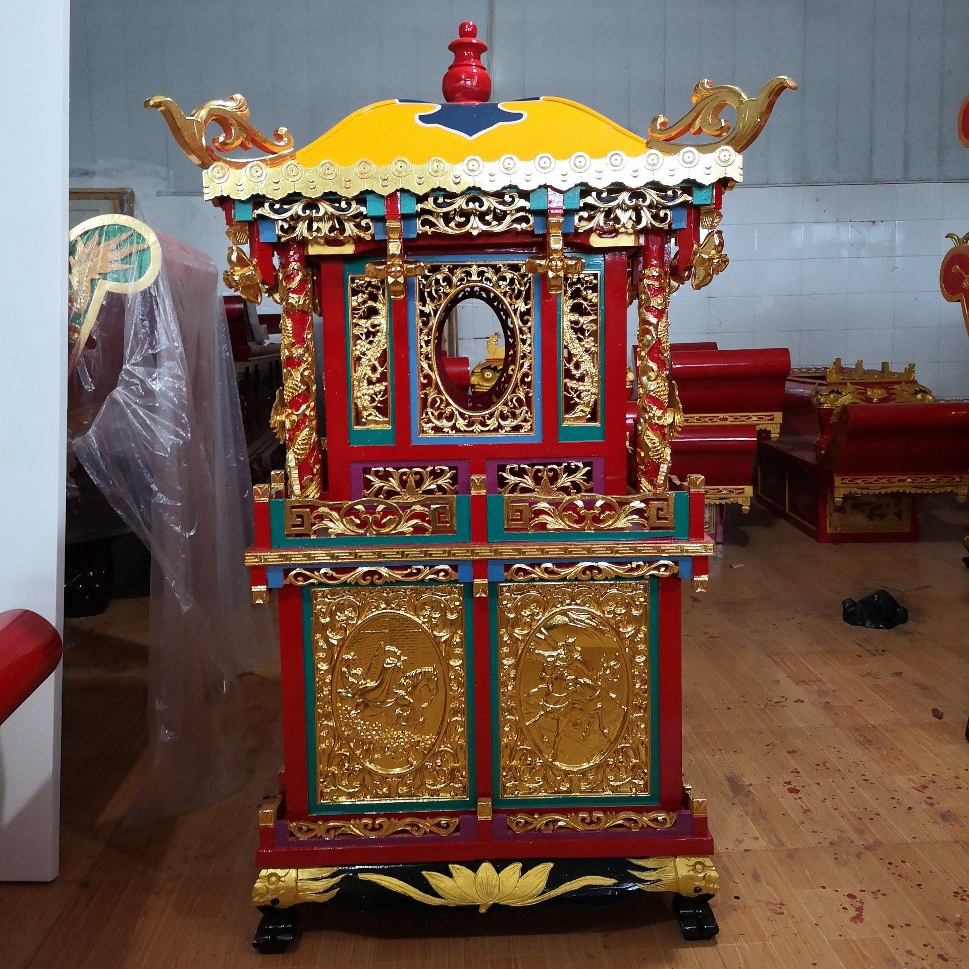 寺院木雕佛轿 香亭抬佛像轿子