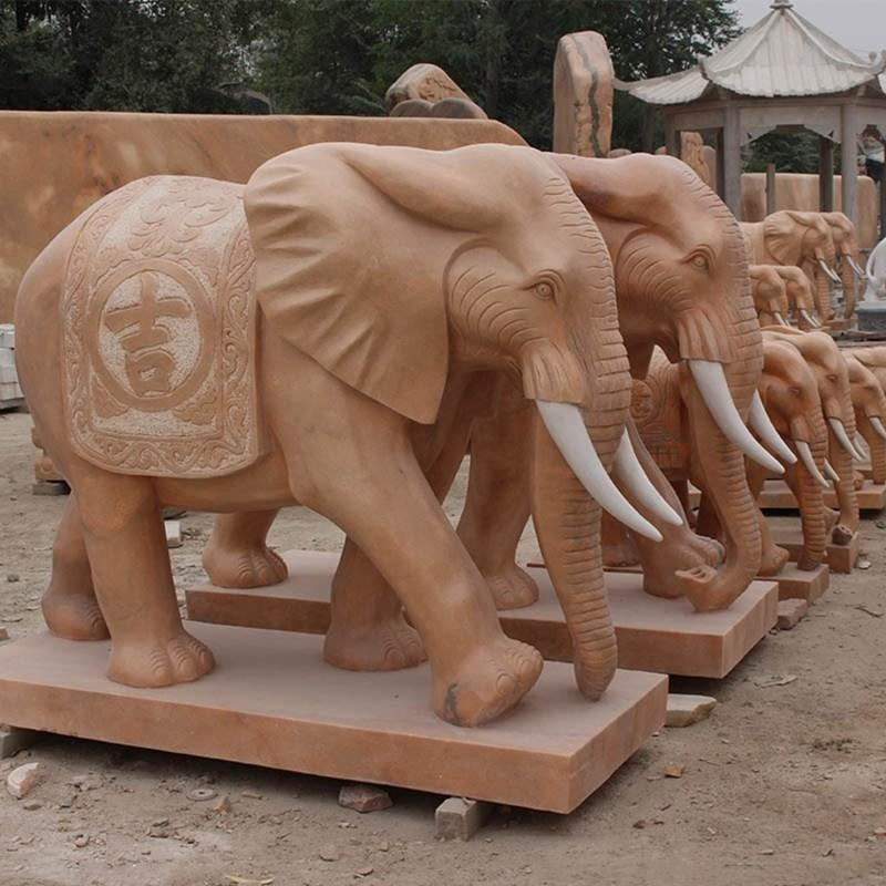 曲阳厂家直销大理石晚霞红精品石雕吉祥如意大象 泽业雕塑加工定做动物石雕 石雕大象一对汉白玉门口庭院石雕塑摆件