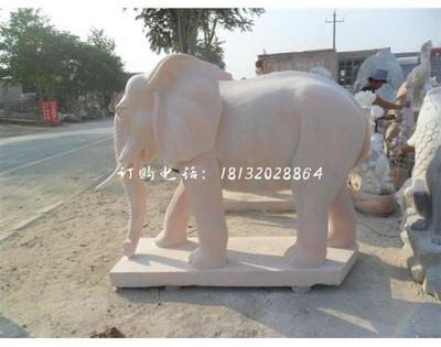 晚霞红大象雕塑 门口石雕大象