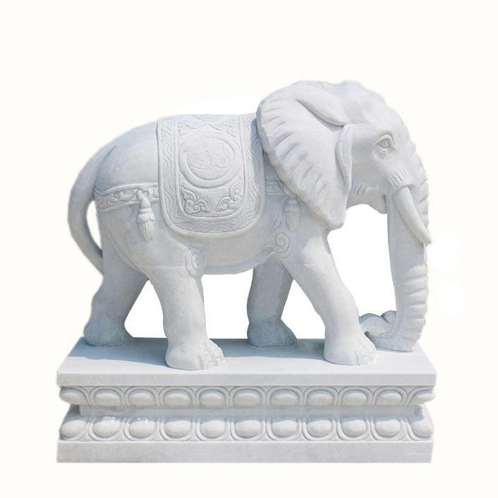 石象 门口石雕大象 汉白玉招财象 吉祥如意石象现货 晚霞红石头象