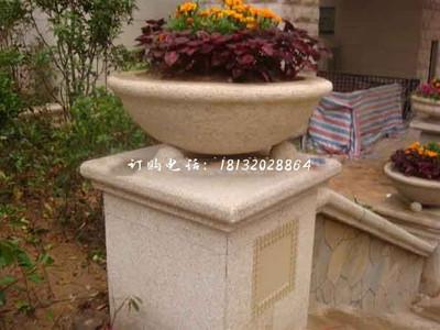 砂岩花盆雕塑,小区石雕花盆