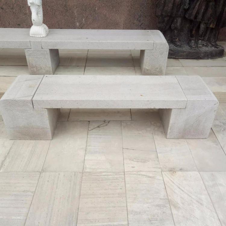 批发石椅石凳 户外庭院大理石头长条凳 园林花岗岩石头椅子 公园别墅石雕圆桌石凳