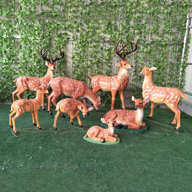 玻璃钢梅花鹿价格 仿铜动物雕塑 麋鹿雕塑定制,鹏钊