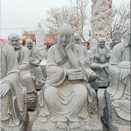 十八罗汉石雕像 寺庙大型佛像雕刻 英翰园林雕塑石材产品