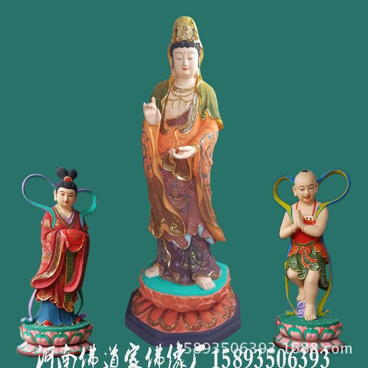 站观音菩萨像 送子观音站像 极彩木雕神像 玻璃钢佛像批发厂家示例图3