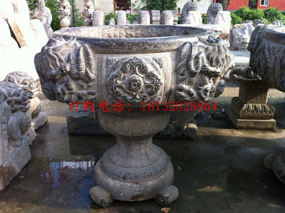 青石花盆,公园景观石雕 石雕花盆