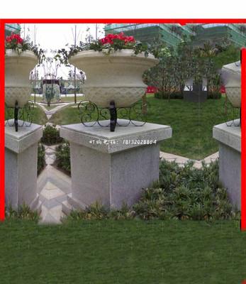 砂岩花盆石雕,公园石雕花盆