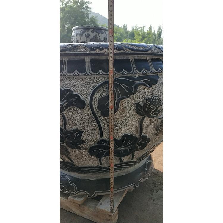 汉白玉鱼缸石雕 石槽 养花草鱼缸 石雕荷花鱼缸石槽 万尚雕塑