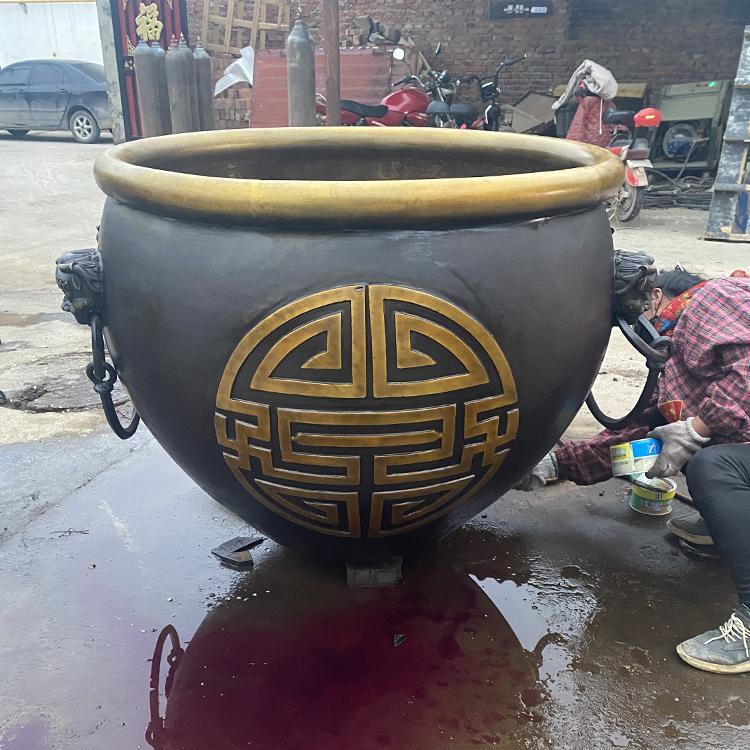 仿古铜大缸定制 纯铜大缸生产厂家 圣喜玛