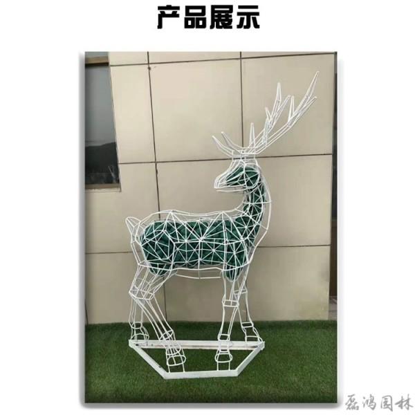 广东省磊鸿园林不锈钢雕塑厂家 小鹿造型动物雕塑 园林景观不锈钢雕塑