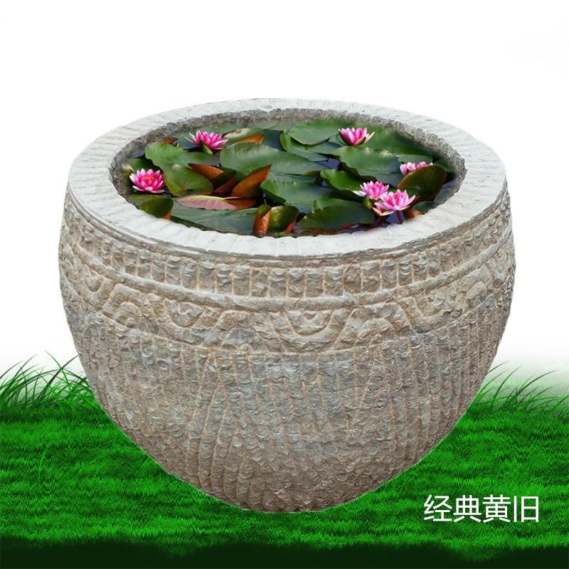做旧石雕花盆 石缸 庭院鱼缸 青石雕刻花盆 老石槽 汉白玉鱼缸 汉白玉花盆