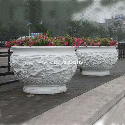 汉白玉龙浮雕花盆 广场石雕花盆