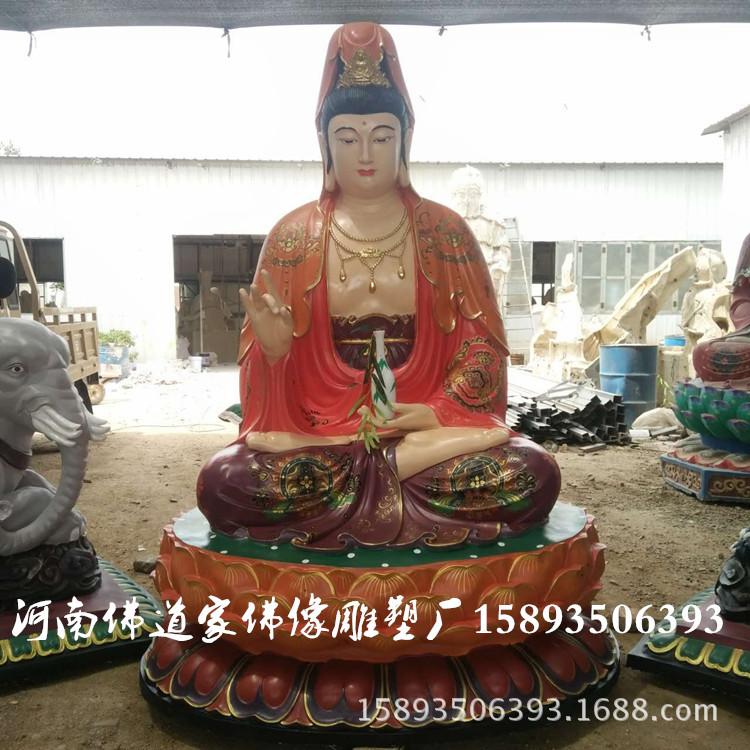 娑婆三圣佛像图片 华严三圣佛像厂家 极彩观世音菩萨雕塑2.1米示例图3